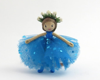 Little ballerina doll, miniature bendy doll, small blue doll, poseable doll, miniature ballet doll, blue tutu doll, blue bendy doll