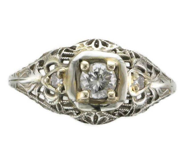 Ladies 18 Karat White Gold Diamond Filigree Edwardian Ring