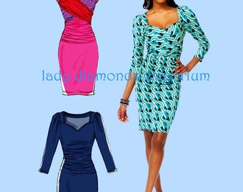 McCalls M6801 Tracy Reese Sexy Knit Dress in 3 Styles Womens size 8 10 12 14 16 Bust 31 to 38 Sewing Pattern 6801 Uncut FF