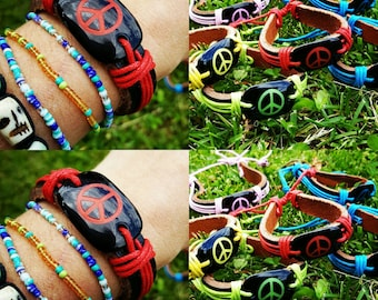 Peace Sign Leather Bracelets Assorted Colors