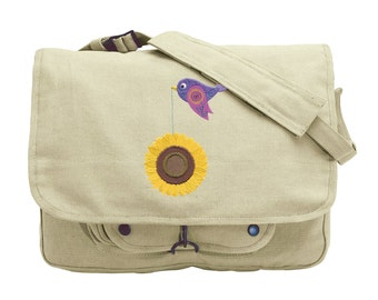 Tweet Sunflower Embroidered Canvas Messenger Bag