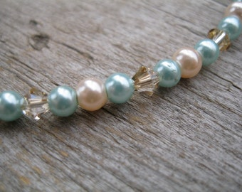 Mint Green and Peach Pearl Anklet