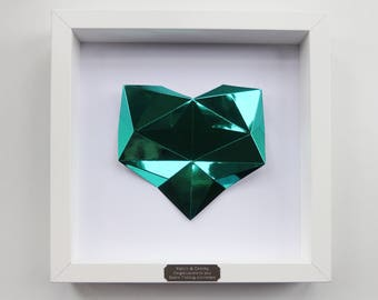 Framed Personalised Origami Emerald Heart - 55th Wedding Anniversary Gift