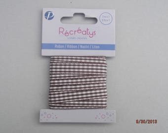 3 meters of chocolate and white polyester striped 10 mm Ribbon