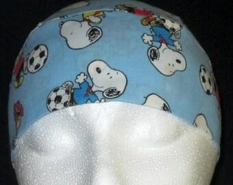 Blue Chemo Cap or Skull Cap w Peanuts Playing Soccer, Hair Loss, Bald, Alopecia, Hats, Surgical Cap, Head Wrap, Bandana,Children, Men, Women