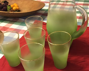 Vintage Blendo Frosted Lime Green Pitcher & 5 Glasses 1950s-1960s