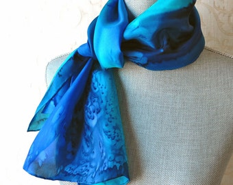 Silk Scarf Hand Dyed in Sapphire, Aqua and Midnight Blue, Mother Gift from Son Daughter