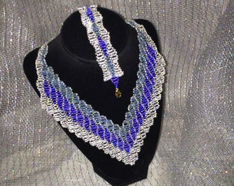 """The """"Marie"""" hand beaded Ombre Necklace and Bracelet Set"""