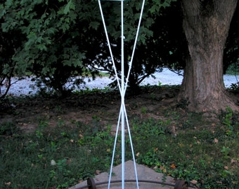 Twist Series Freestanding welded steel Bird Feeder - White enamel finish with patina copper roof