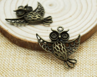 8pcs Antique bronze european owl hollow Pendants for Necklace / accessory DIY 36mm x 35 mm (507-8)