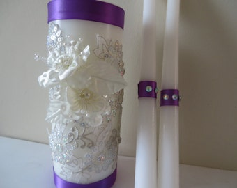 Three Piece Unity Candle set made with white lace embedded with Austrian crystals