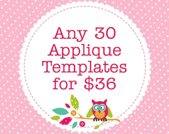 Any 30 Applique Templates, You Choose Designs, Multiple Purchase Discount. PDF Patterns by Angel Lea Designs