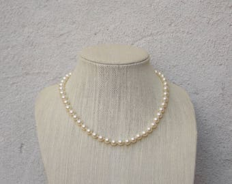Creamy Pearl Necklace, Medium Sized, Nice Weight