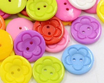 set of 20 flower buttons round 23mm multi-color sewing notions new scrap