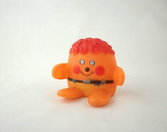 Mid Century Tommee Tippee Squeaky Toy, 1960s, Orange, Rubber Man, Squeeze Toy