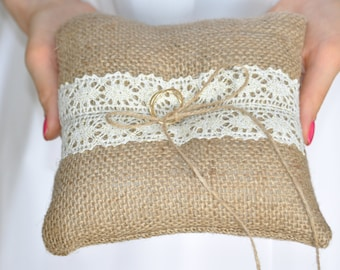Burlap ring pillow Burlap Ring Bearer Pillow with Ivory and Gold cotton lace Ring cushion Woodland / Rustic / Cottage style Weddings