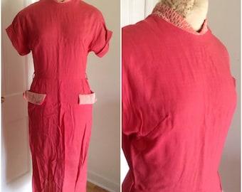 1960s Pink Linen Wiggle Dress Vintage, size XS extra small, small 2 4 Mad Men pink dress, wiggle dress, linen dress, summer dress
