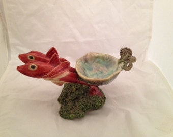 Vintage Majolica Fish Statue With Seashell Bowl