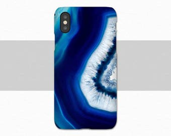 In Stock NOW iPhone X Case, Blue Geode, Nature, Blue, Case for iPhone X, Gift for Him, iPhone X