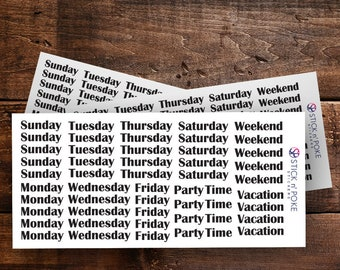 Days of the Week Bujo Stickers
