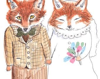 Foxy Wedding // A4 Print