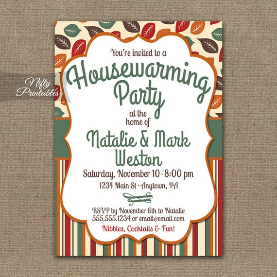 Fall housewarming party invitations printable house warming like this item stopboris Images