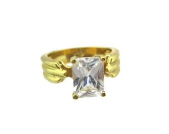 Vintage 14k HGE Gold Princess Cut Quartz Austrian Crystal  Ring Signed GS Size 5