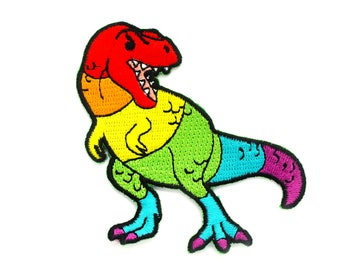 Rainbow T. Rex Patch (embroidered patch lgbt pin lgbtq gay pride rainbow patch rainbow dinosaur patch backpack patch jean jacket patch)