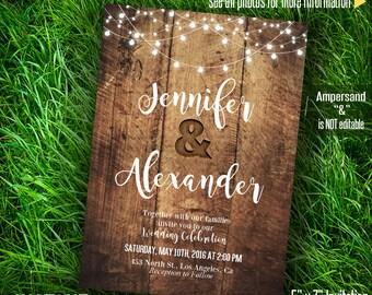 Wedding Invitation, Rustic wood and lights, Printable wedding templates, Instant Download Self editable PDF file A243