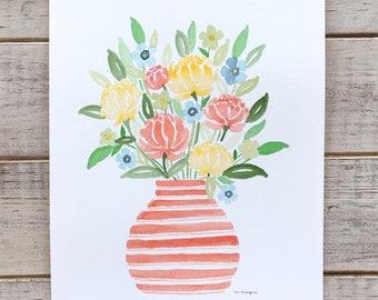 Watercolor Florals in Peach Vase