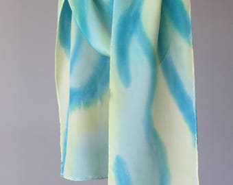 A Touch of Color Hand Painted Silk Scarf, Turquoise Pale Yellow Crepe de chine Petite Scarf, womens fashion Valentines Day Gift