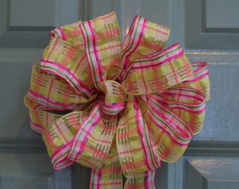 Plaid Bow, Summer Bow, Spring Bow, Decorative Bow, Citrus/Pink/Green Bow, Mother's Day Bow, Wreath Bow, Basket Bow