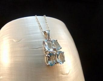Sparkling Blue Topaz Sterling Silver Necklace