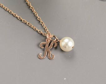 Personalized Necklace Rose Gold Intial Necklace Single Pearl Necklace With Initial