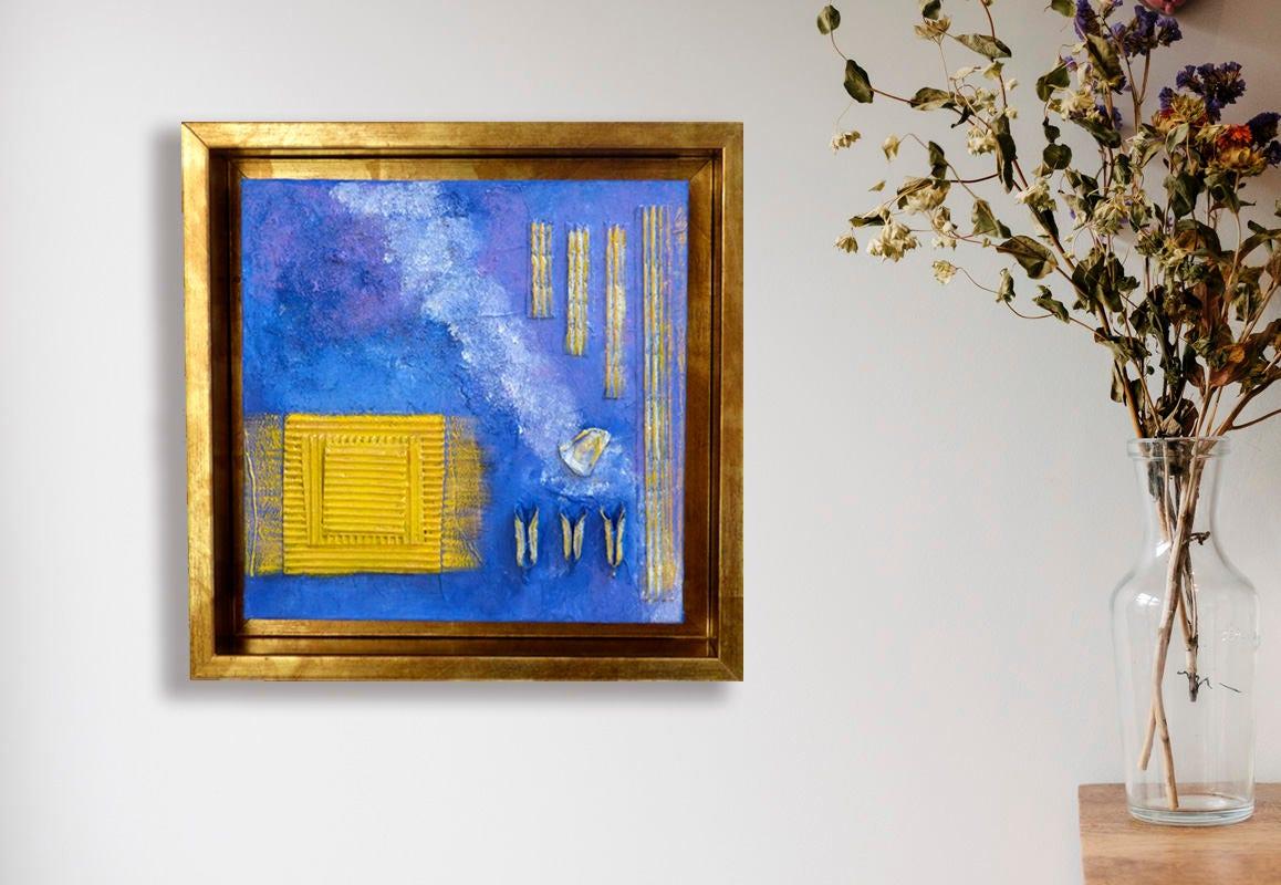 Cuadro moderno abstracto Cuadros decorativo con marco dorado