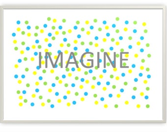 Imagine in Cool Colours Nursery Printable, Digital Downloads, PDF & JPG Format