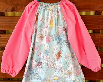 Kids Long Sleeve Art Smock - Size 4 - 7. Petal Fairies.