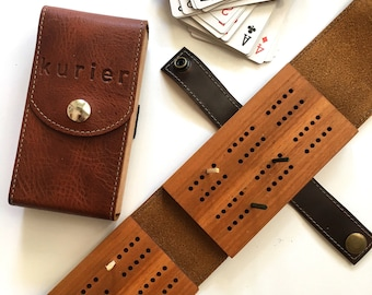 Leather and Wood Travel Cribbage Set