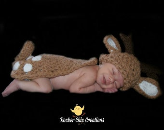 Baby Deer Cuddle Cape Photo Prop Newborn Infant Boy or Girl Baby Reindeer Fawn