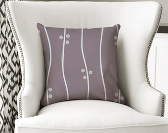 Plum Pillow, Modern Pillow, Throw Pillow Cover, Decorative Pillow, Striped Pillow, Purple, Gray Pillow, Accent Pillow, Sofa Pillow