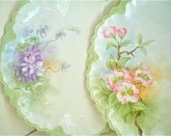 Antique Dessert Plates with Hand Painted Flowers, Dated 1914