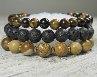 Tiger Eye, Picture Jasper and Lava Rock Triple Stack Bracelets accented with 22K Gold