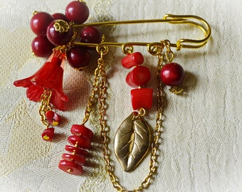 Red Gold Natural Coral Statement Jewelry Flower Brooch Contemporary Scarf Shawl Fibula Pin Handmade Brooch Pin Beadwork Mother's Day Gift