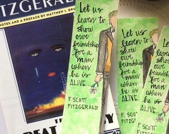 Gatsby Quote Spine Bookmark - The Great Gatsby - Handmade Handpainted Watercolor