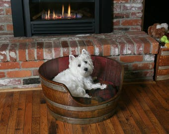 Wine Barrel Dog Bed with pillow Made From A Napa Valley Wine Barrel By WBC