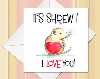 I Love You Card, Cute Birthday Card, Animal Birthday Card