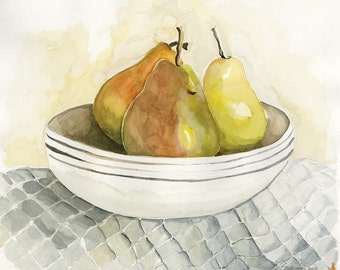 Watercolor Fine Art Print from Original Painting - Pears in Bowl