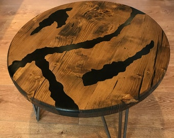 Reclaimed Wood and Jet Black Epoxy Resin Coffee Table on Hairpin Legs