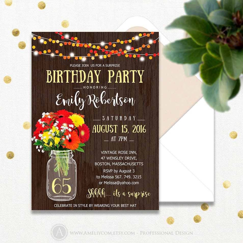 Surprise Birthday Invitations Printable Adult 65th