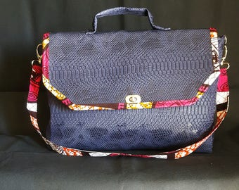 faux leather and wax satchel